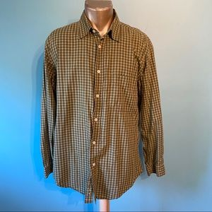 Men's Esprit green plaid button up shirt